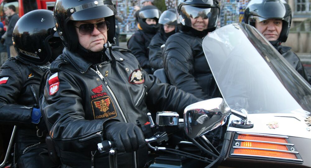 Polish bikers taking part in the Katyn Rally, an annual motocross taking place across large tracts of European Russia, have blazed through Moscow, and are now on route to the Siberian city of Tobolsk, beyond the Ural Mountains.