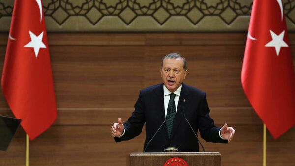 In this file picture take on August 12, 2015 Turkish President Recep Tayyip Erdogan addresses a meeting at the presidential palace in Ankara - Sputnik International