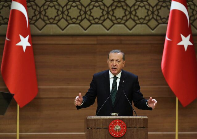 In this file picture take on August 12, 2015 Turkish President Recep Tayyip Erdogan addresses a meeting at the presidential palace in Ankara