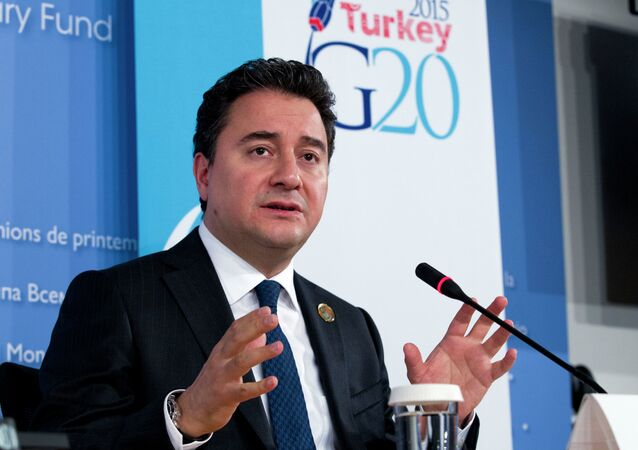 Turkish Deputy Prime Minister Ali Babacan, speaks during a news conference