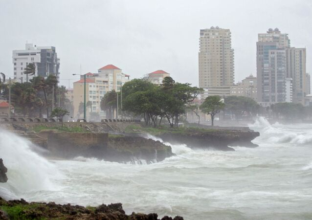Waves breaking into the seafront in Santo Domingo, Dominican Republic on August 28, 2015