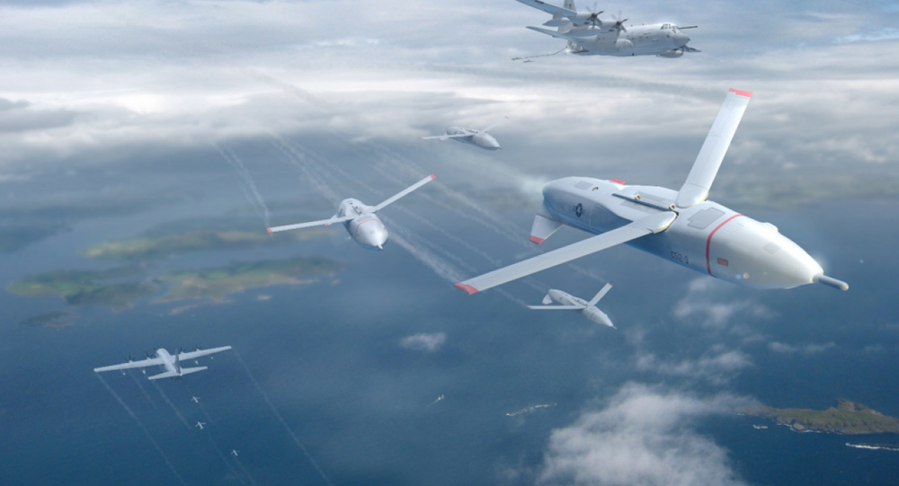 An artist's concept of DARPA's gremlin drones.