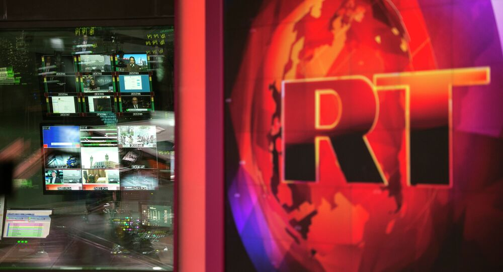 Control room of the Russia Today English-language newsroom