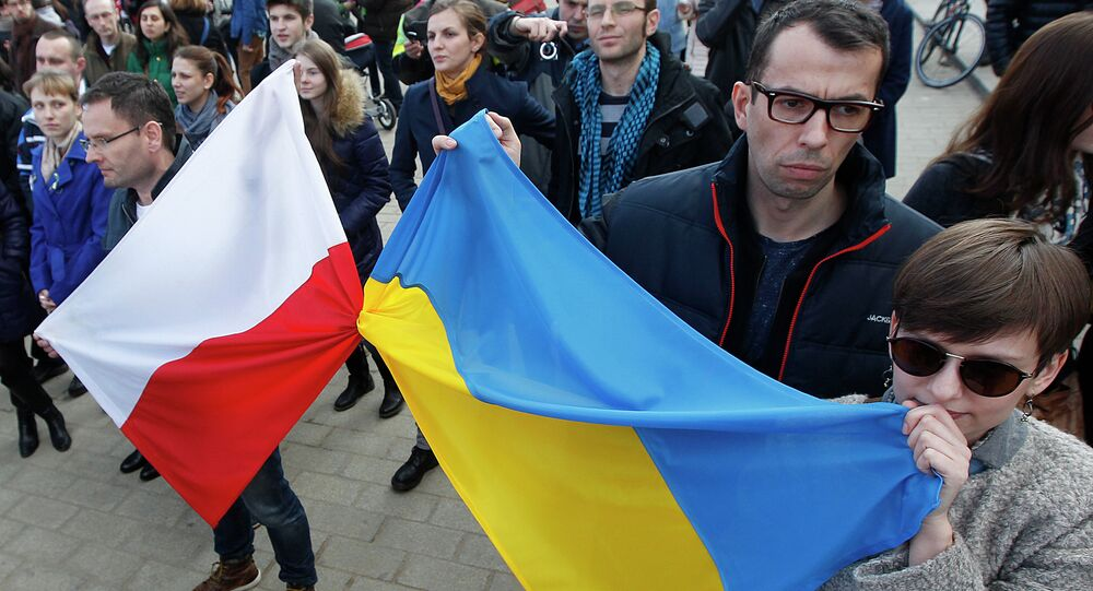 People holding Polish and Ukrainian flags, listening to speakers during a demonstration in Warsaw, showing their support for the Maidan protests in Ukraine, February 23, 2014.