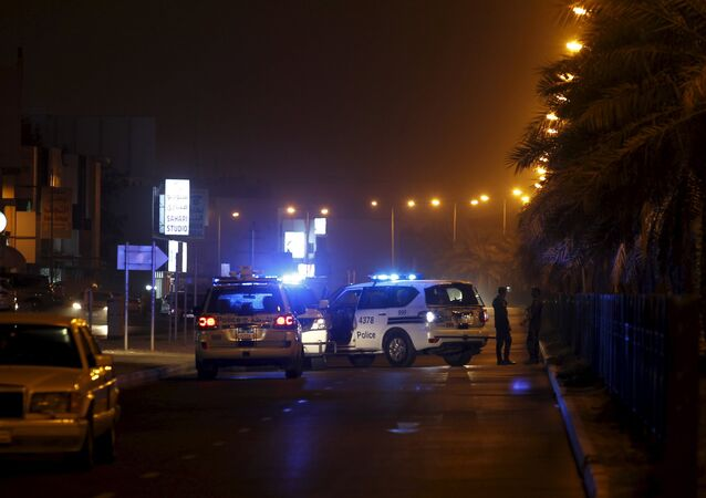 Police cars block the Budaiya highway leading to the blast site where one police officer was killed late Friday evening in Budaiya west of Manama, Bahrain, August 28, 2015. A terrorist blast in a Shi'ite village in Bahrain killed a policeman on Friday, the country's interior ministry said. One policeman killed in the terrorist blast in Karana village, it said on its Twitter account, giving no further details