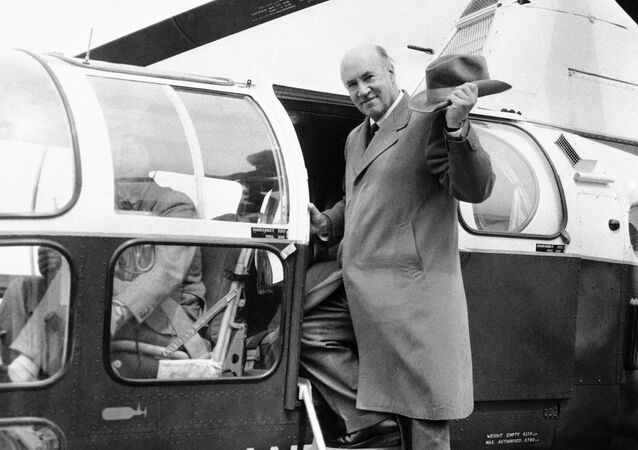 Igor I. Sikorsky America's Russian born helicopter designer, leaves the helicopter station in London's south bank on April 23, 1958 for flight to the Westland Aircraft Company's works at Yeovil, Somerset, England