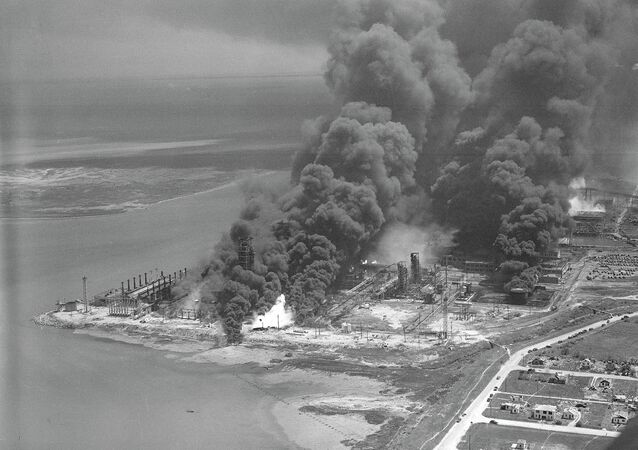 Aerial view of Texas City, Tex., April 16, 1947, after a French ship loaded with nitrate exploded in the harbor area, torching part of the city