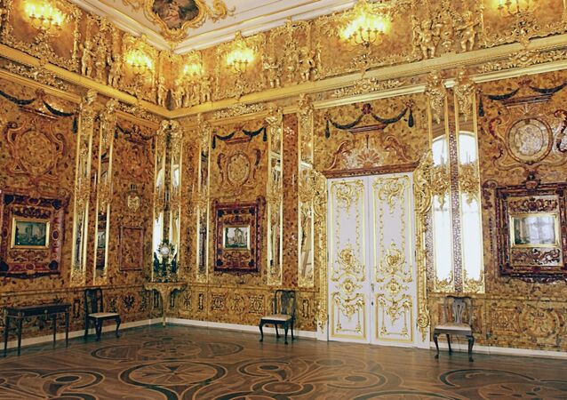 The famous Amber Room in Catherine Palace near St. Petersburg, Pushkin