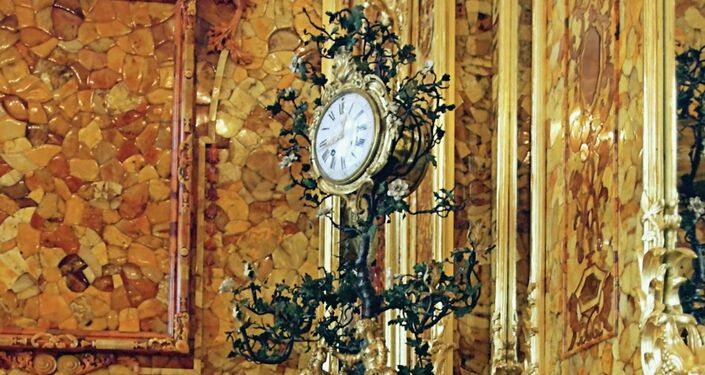The famous Amber Room in Catherine Palace near St. Petersburg, Pushkin. Clock