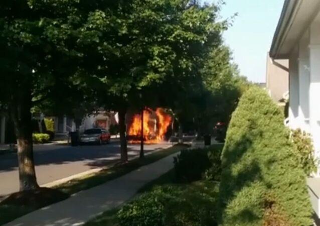 Trash Truck Burns in Maryland Neighborhood