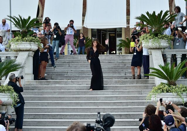 Festival hostess, Italian actress and model Elisa Sednaoui poses during a photocall on the eve of the opening of the 72nd Venice International Film Festival on September 1st, 2015 at Venice Lido.