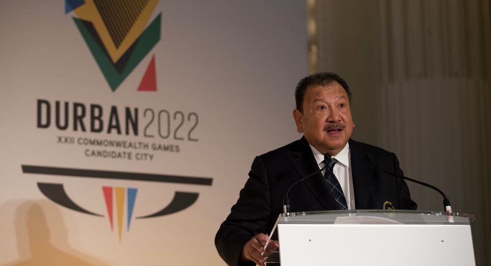 President of the Commonwealth Games Federation Malaysia's Prince Imran speaks before the start of the formal bid presentation from the South African city of Durban to host the 2022 Commonwealth Games.