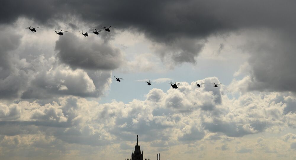 Mi 28 helicopters, military transport helicopter Mi 26, third from right, and MI 8 helicopters during a full dress rehearsal of the V-Day Parade on Red Square, Moscow.