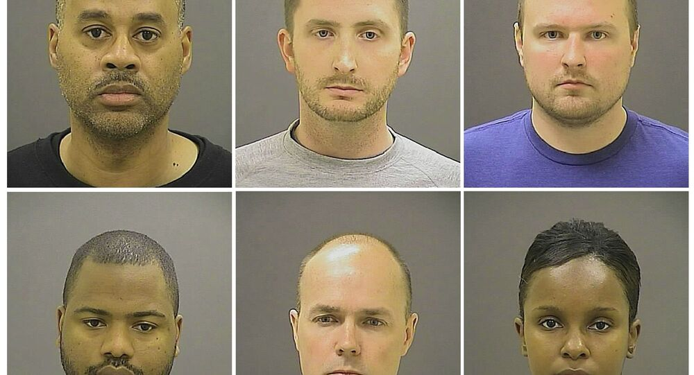 Officer Caesar R. Goodson Jr., Officer Edward M. Nero, Officer Garrett E Miller (top L-R), Officer William G. Porter, Lt. Brian W. Rice, Sgt. Alicia D. White (bottom L-R), are pictured in these undated booking photos provided by the Baltimore Police Department