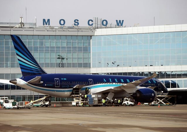 A Boeing 787 Dreamliner of Azerbaijan Airlines is in Domodedovo airport.