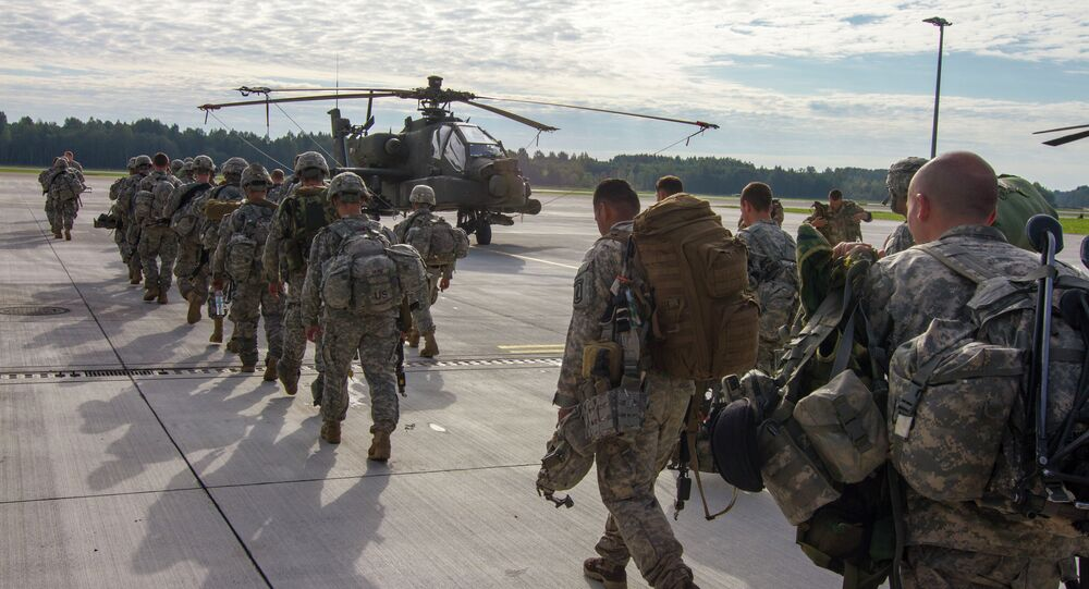 Paratroopers of 1st Battalion, 503rd Infantry Regiment, 173rd Airborne Brigade depart Lielvarde Airbase (NATO), Latvia. File photo