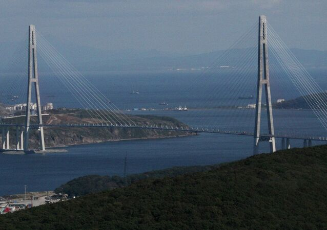 A cable bridge over the Eastern Bosphorus strait on Russky Island in Vladivostok