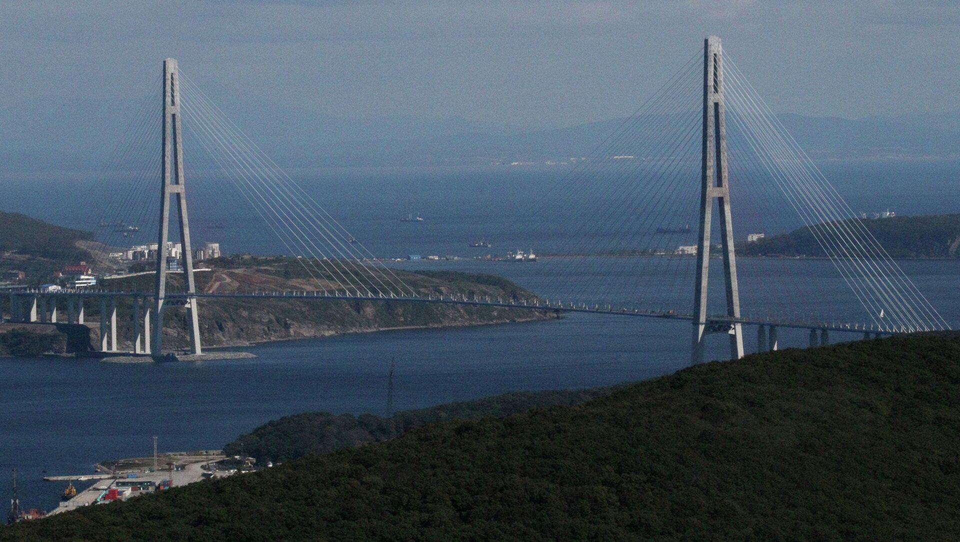 A cable bridge over the Eastern Bosphorus strait on Russky Island in Vladivostok - Sputnik International, 1920, 01.09.2021
