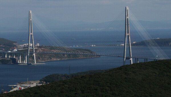 A cable bridge over the Eastern Bosphorus strait on Russky Island in Vladivostok - Sputnik International