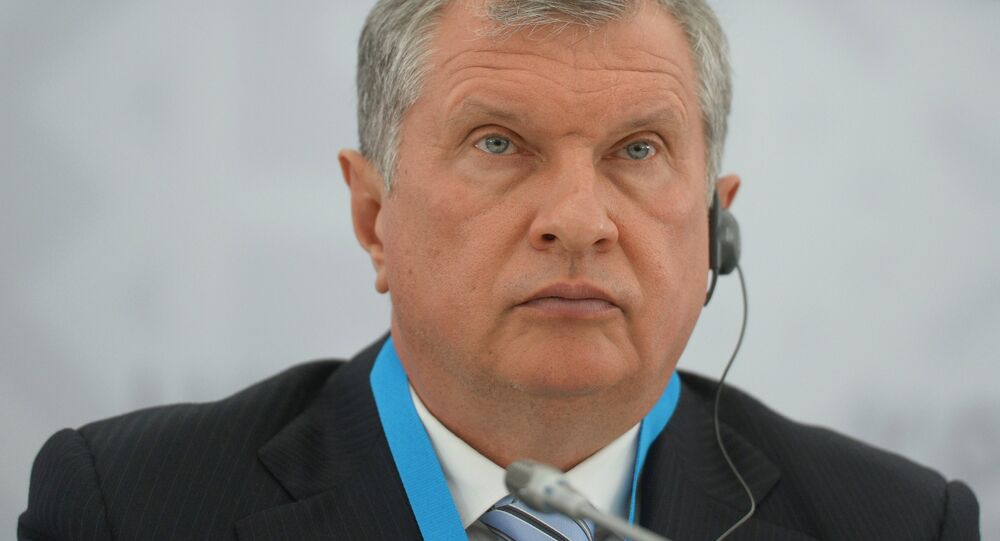 President and Chairman of the Board of JSC Rosneft Igor Sechin at a briefing on signing a long-term contract for oil deliveries between Rosneft and Essar oil LTD