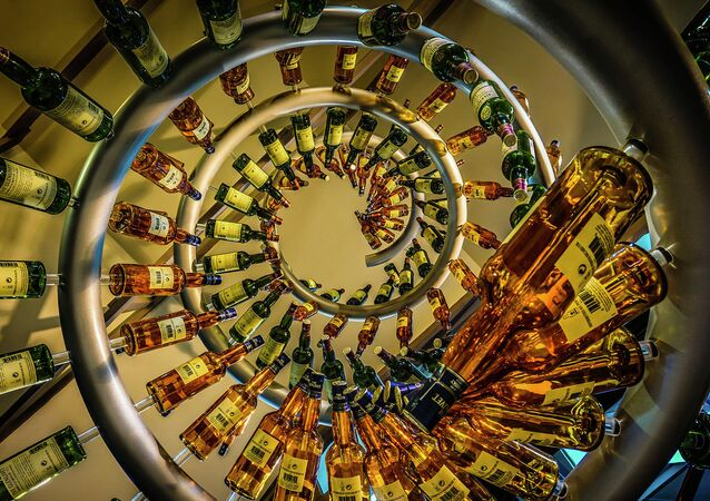 Whisky display at the Glenlivet Distillery, Speyside, Scotland.
