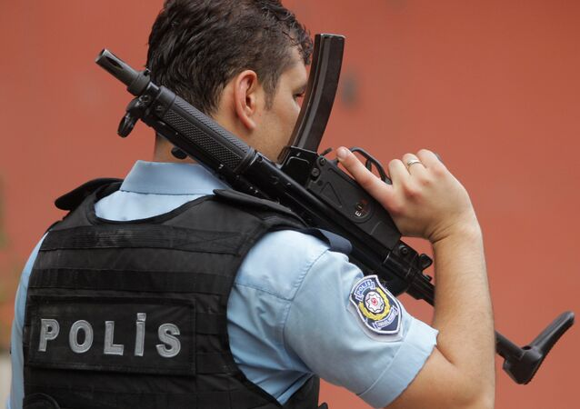 An armed Turkish police officer