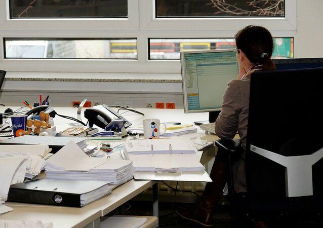 A secretary in an office