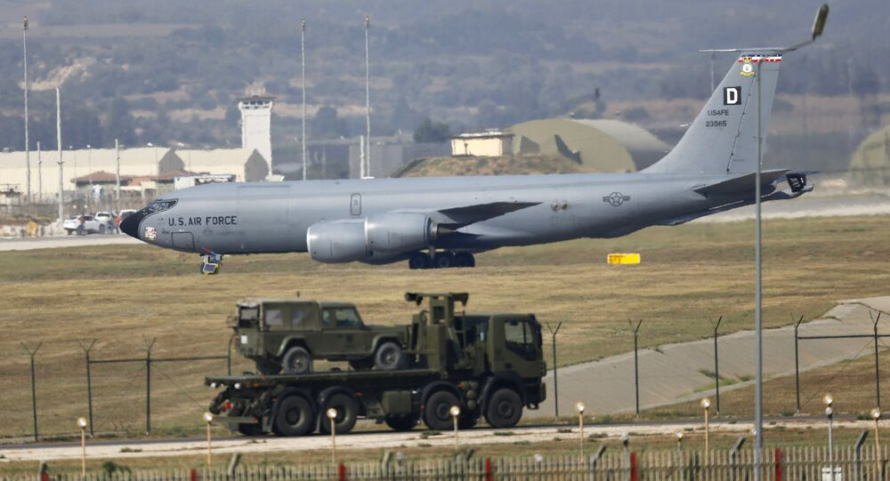 A U.S. Air Force Boeing KC-135R Stratotanker aerial refueling aircraft lands at Incirlik air base in Adana, Turkey, August 10, 2015