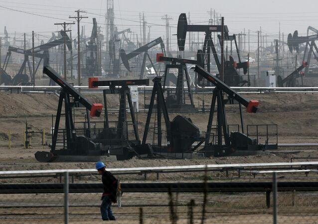 Pumpjacks operate at the Kern River Oil Field Bakersfield, Calif