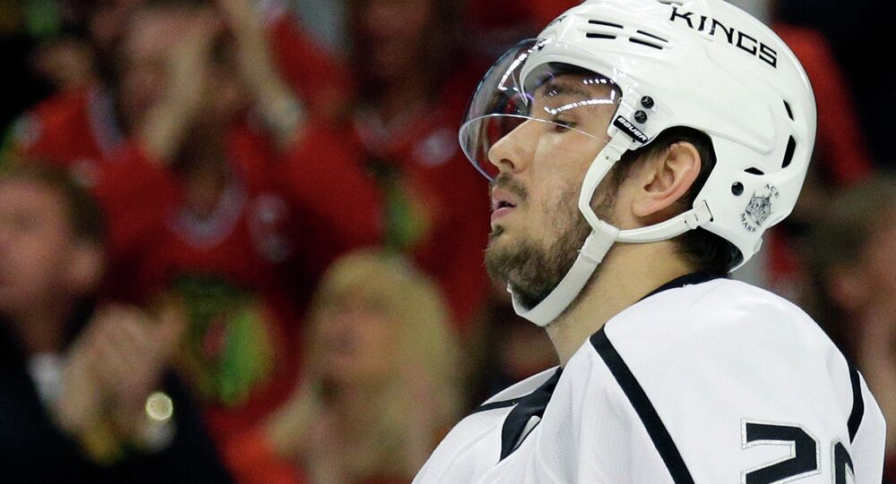 FILE - In this May 18, 2014, file photo, Los Angeles Kings defenseman Slava Voynov is seen during Game 1 of the Western Conference finals in the NHL hockey Stanley Cup playoffs in Chicago