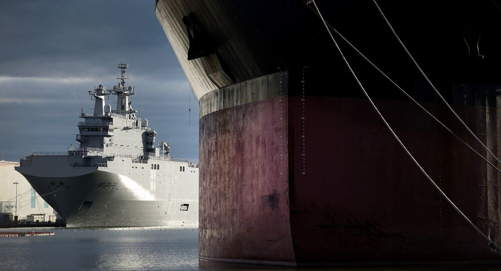 A picture shows the Vladivostok warship, a Mistral-class LHD amphibious vessel ordered by Russia from STX France in Saint-Nazaire, western France, on December 20, 2014