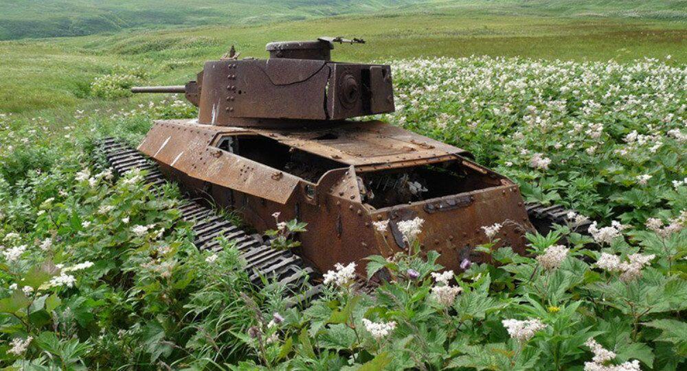 Shinhoto Chi-Ha medium tank on Shumshu island