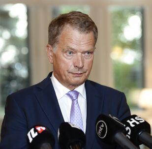 Finnish President Sauli Niinisto speaks to media in Helsinki, Finland on Thursday, Aug. 14, 2014