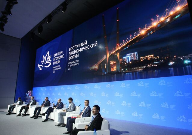 Panel speakers at the key session New Economic Policy in East Russia: Advanced Special Economic Zones, Special Economic Zones, Free Port Vladivostok during the Eastern Economic Forum in Vladivostok.