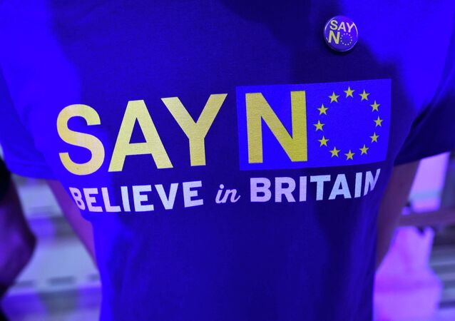A supporter wears a tee-shirt as he waits for Nigel Farage, the leader of Britain's anti-EU UK Independence Party (UKIP) to speak at the launch of the party's EU referendum campaign, in London, Britain September 4, 2015
