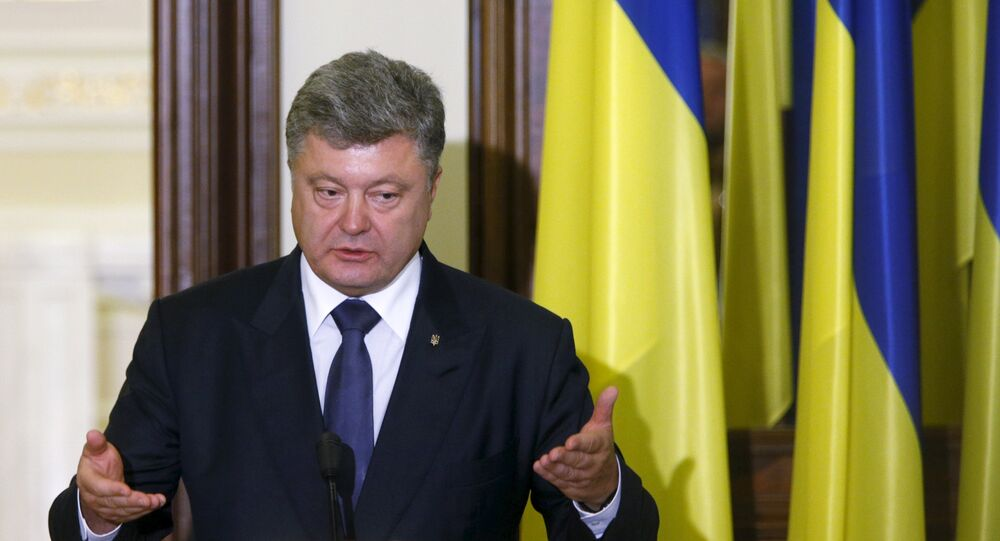 Ukrainian President Petro Poroshenko speaks during a news conference after a meeting with International Monetary Fund (IMF) Managing Director Christine Lagarde (not pictured) in Kiev, Ukraine, September 6, 2015
