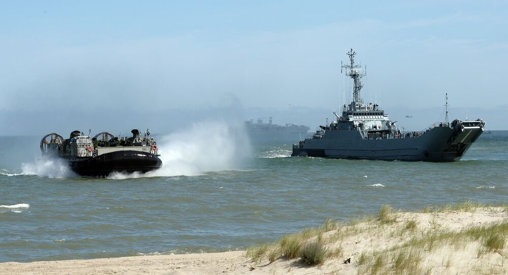 NATO troops make a massive amphibious landing off the coast of Ustka, northern Poland, during NATO military sea exercises BALTOPS (Baltic Operations) 2015 in the Baltic Sea