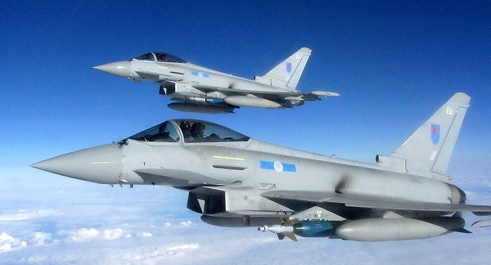 A Royal Air Force Typhoon fighter aircraft
