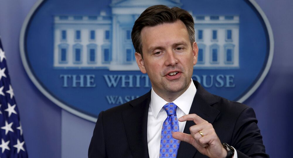 White House Press Secretary Josh Earnest speaks during a press briefing at the White House in Washington.