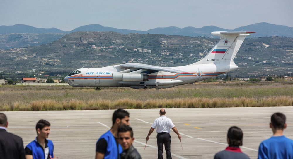 Russian EMERCOM plane with humanitarian aid for the people of Syria arrives to Latakia Airport in Syria.