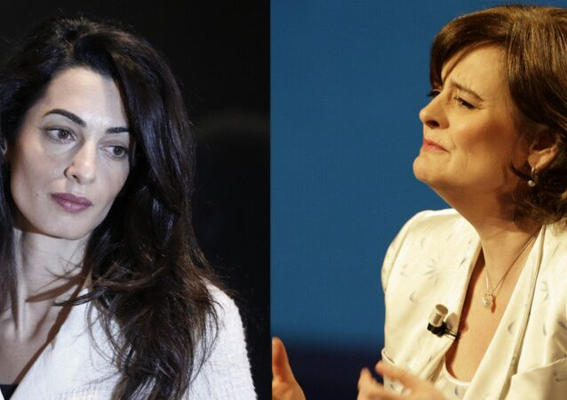 Lawyer Amal Clooney (left) and former UK Prime Minister Tony Blair's wife Cherie Blair (right)