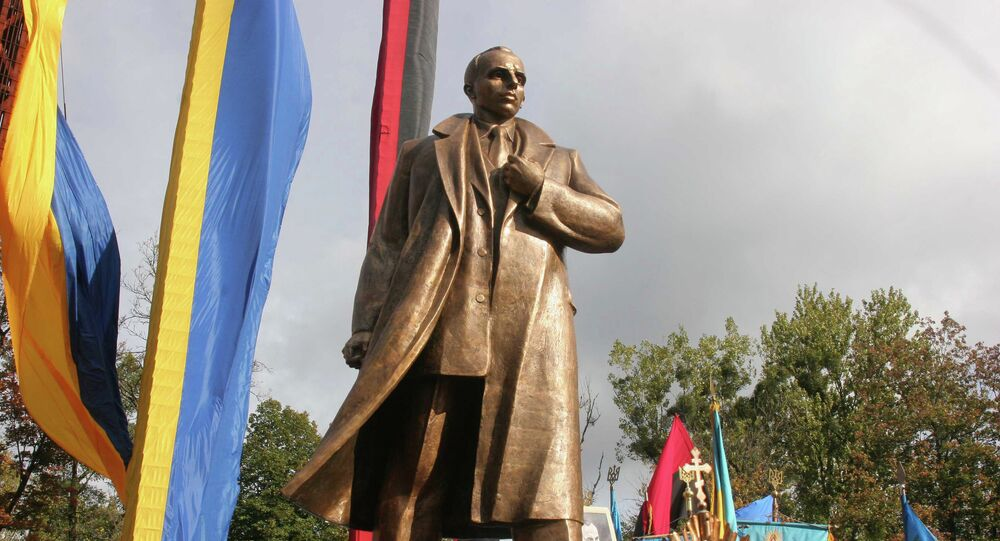 Unveiling a monument to Stepan Bandera, the leader of the Organization of Ukrainian Nationalists, in Lviv.