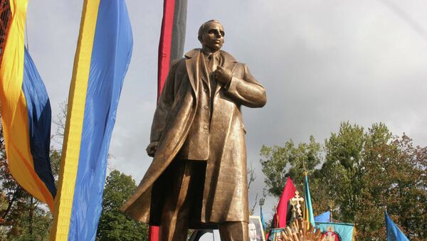 Unveiling a monument to Stepan Bandera, the leader of the Organization of Ukrainian Nationalists, in Lviv. - Sputnik International