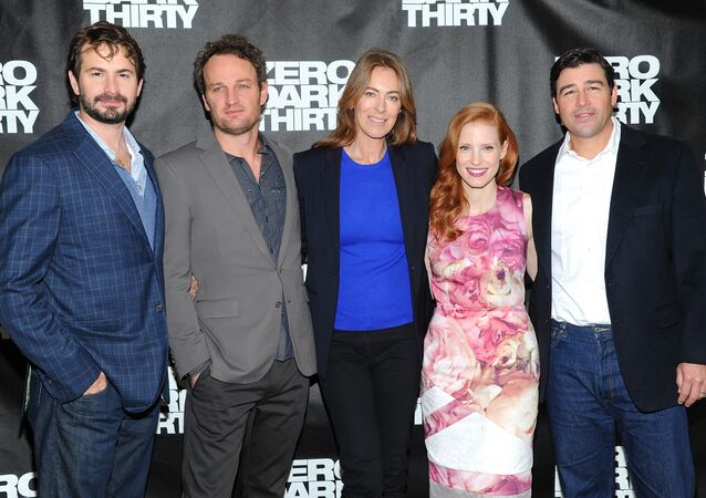 Writer and producer Mark Boal, left, actor Jason Clarke, director and producer Kathryn Bigelow, center, actress Jessica Chastain and actor Kyle Chandler participate in a Zero Dark Thirty photo call.