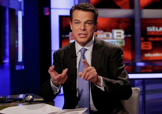 Fox News Channel anchor Shepard Smith broadcasts his Studio B program.