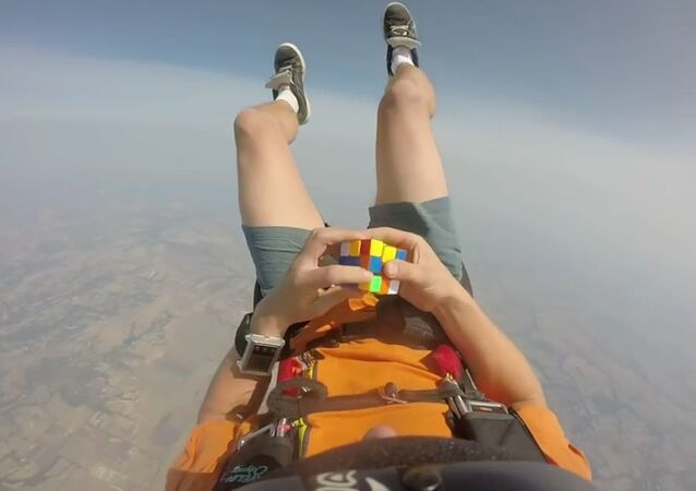 Rubix cube solved in free fall.