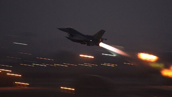 In this image provided by the U.S. Air Force, an F-16 Fighting Falcon takes off from Incirlik Air Base, Turkey, as the U.S. on Wednesday, Aug. 12, 2015, launched its first airstrikes by Turkey-based F-16 fighter jets against Islamic State targets in Syria - Sputnik International