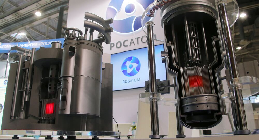 Models of nuclear reactors BREST and MBIR at Rosatom's stand at the 11th National Forum and Exhibition Goszakaz - 2015 (state procurement) at the VDNKh national economic achievements exhibition in Moscow