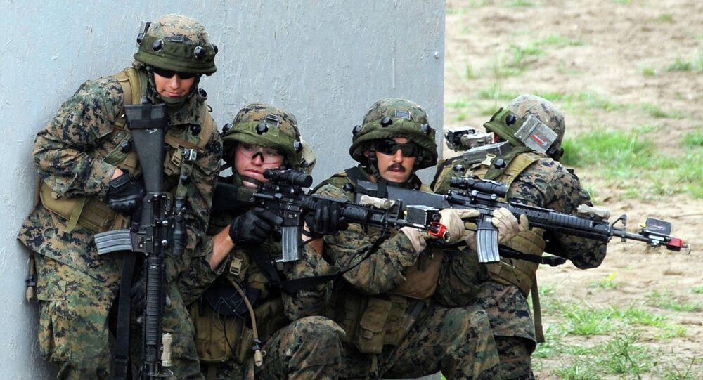 US servicemen take part in a military drill in Yavoriv polygon, Lviv district, western Ukraine, on July 24, 2015