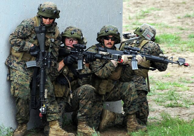 US servicemen take part in a military drill in Yavoriv polygon, Lviv district, western Ukraine, on July 24, 2015